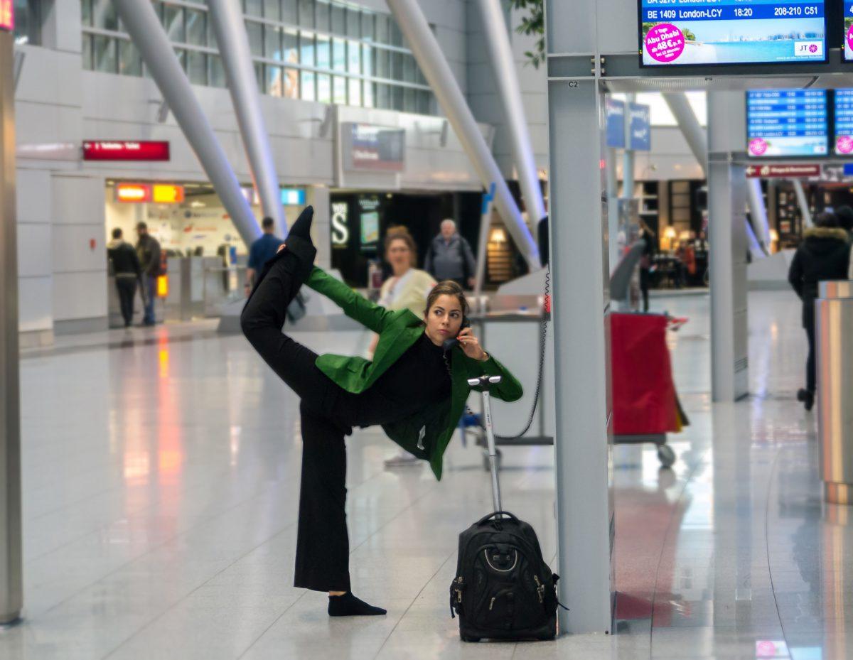 yoga pose at airport
