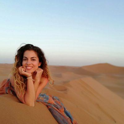 Carmen Mar closeup in desert dunes