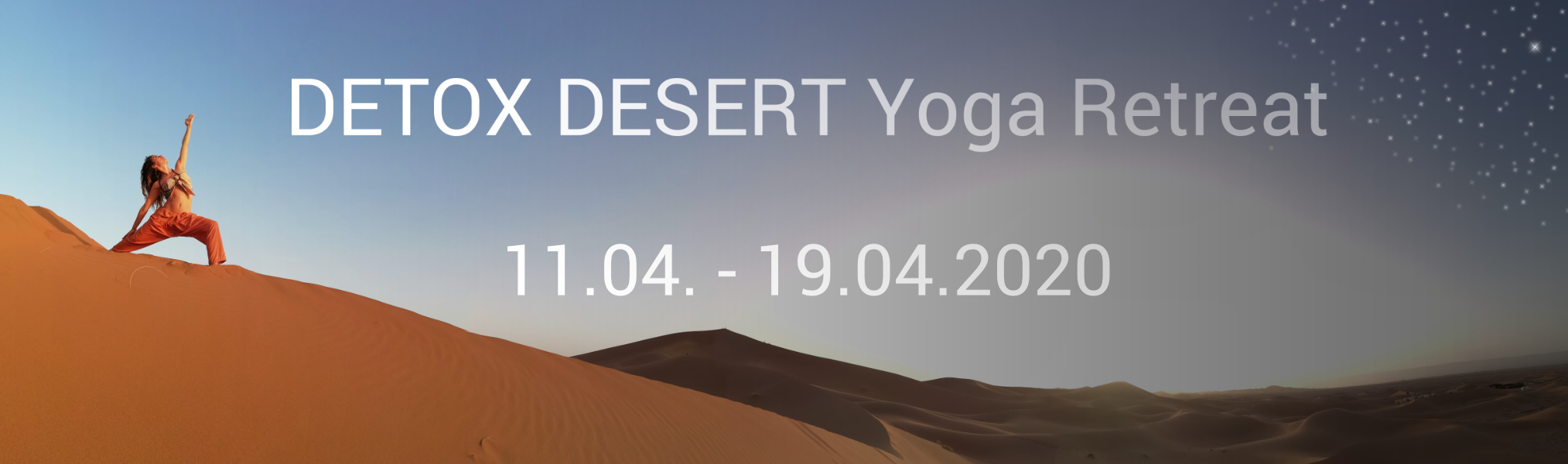Warrior yoga pose in the sahara desert under day and night sky